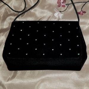 Black Velvet & Rhinestone Evening Bag